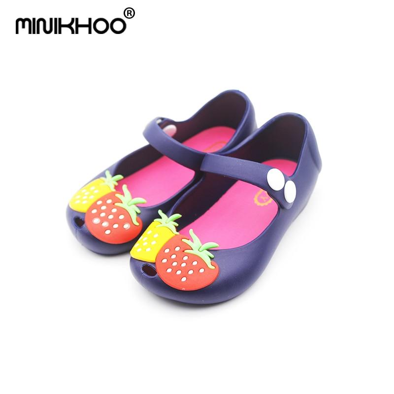 Mini Melissa Strawberry Girls 2018 Summer Sandals Children Shoes Princess Shoes Mini Melissa Girls Sandals Waterproof EUR 24-29
