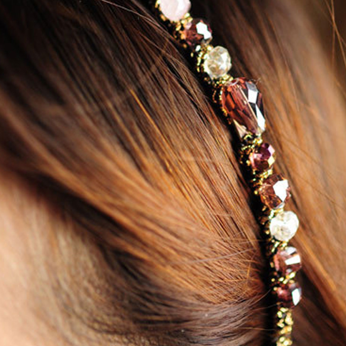 Fashion Irregular Crystal Gold Wire Hairpin Word Hairpin Headdress Girl  Lady Hair Accessories Headband Simple Wild Jewelry