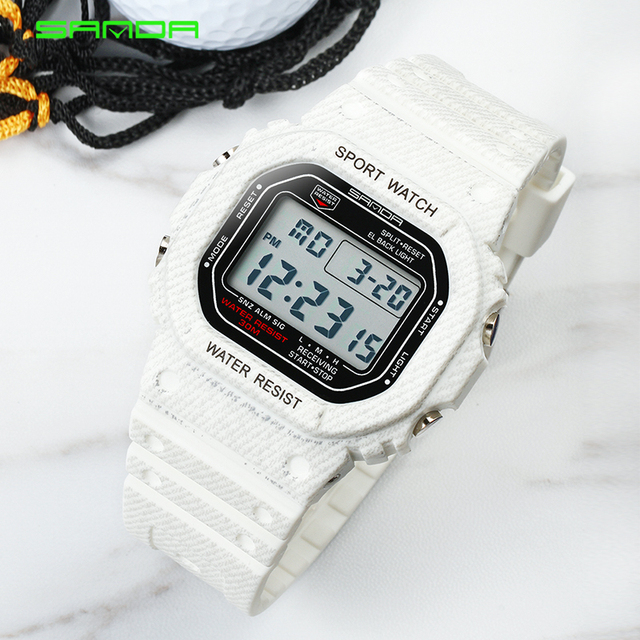 SANDA Vintage Watch Men Women Sport Waterproof Casual Watch Electronic LED Digit