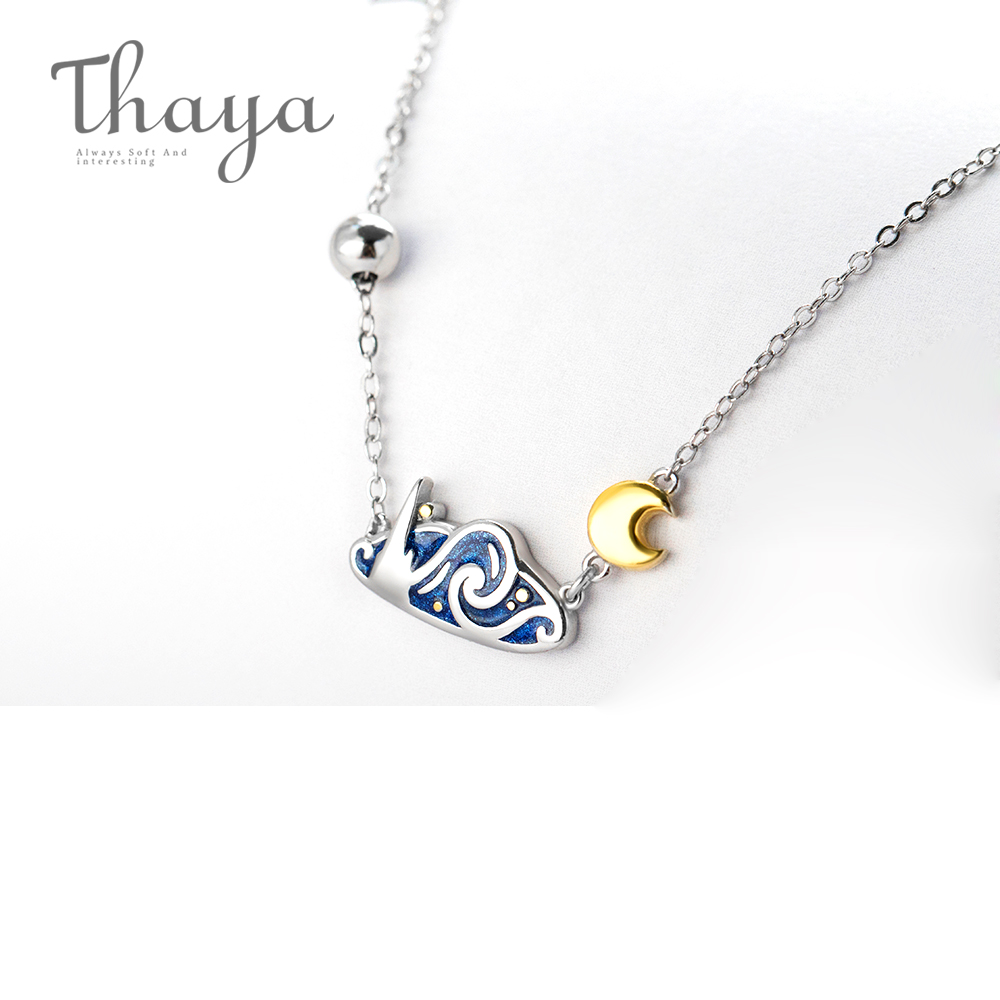 Thaya s925 Silber Smaragd Van Gogh der Halskette Glitter Sky Gold Mond Sterne Anhänger Halskette Bohemian Vintage-Schmuck für Frauen