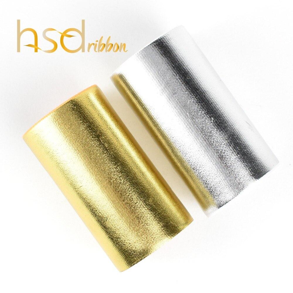 HSDRibbon 75mm 3inch hsdribbon Soild silver gold foil grosgrain ribbon