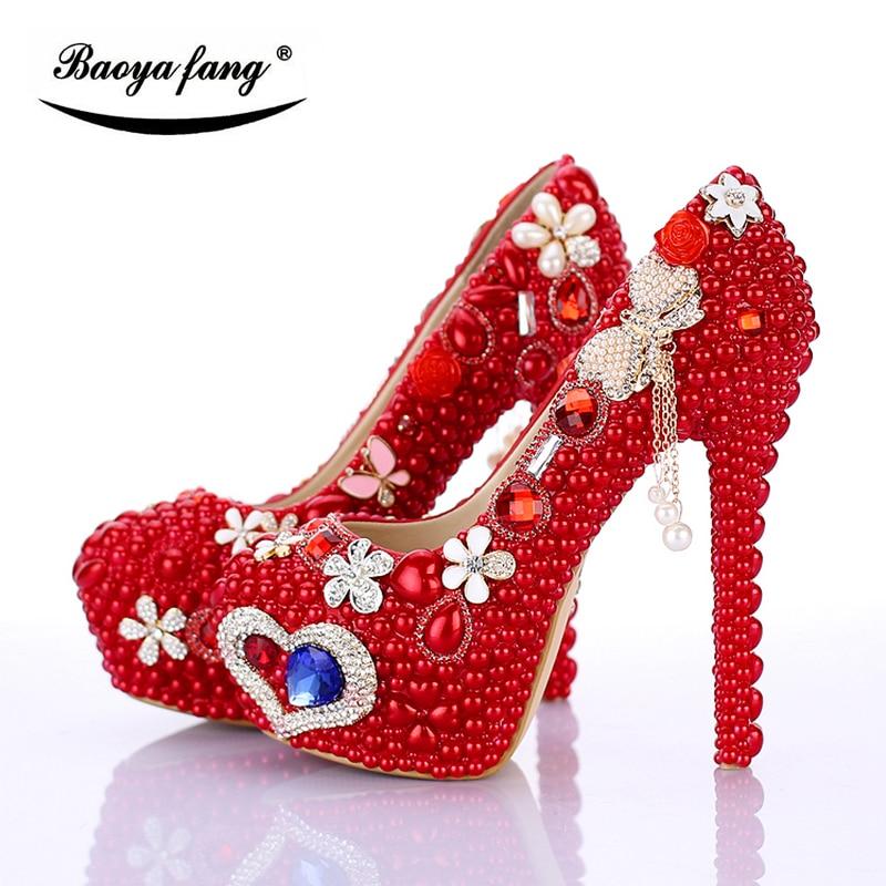BaoYaFang White/Red Tassels Women Wedding shoes Bride 12cm/14cm High heels platform shoes woman high Pumps female shoes multicolor crystal women wedding shoes high heels platform shoes 14cm high shoes woman party dress pumps