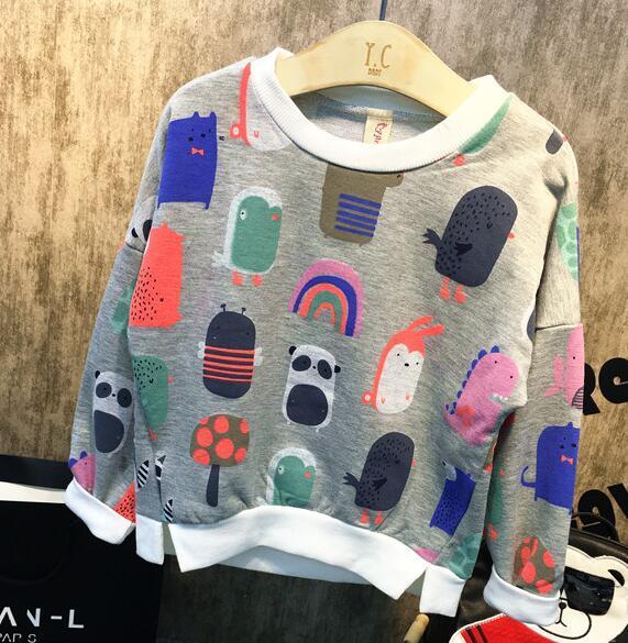 2016 новых осенью и зимой Детей новых мальчиков и одежды одежда для девочек печатных футболки пуловер одеть детей теплый
