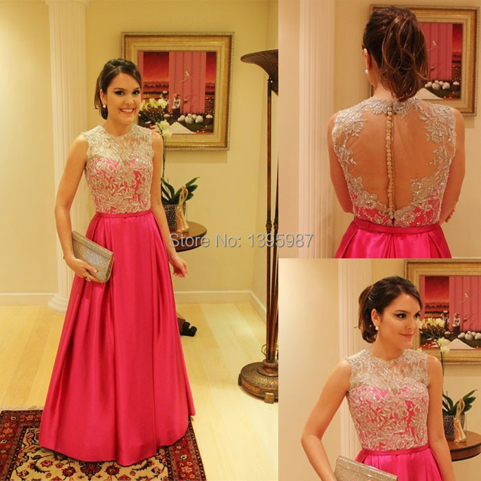 A line floor length O neck Sleeveless taffeta prom Dresses 2015 Applique Sheer Back Evening formal Gowns New sexy Beautiful Gown