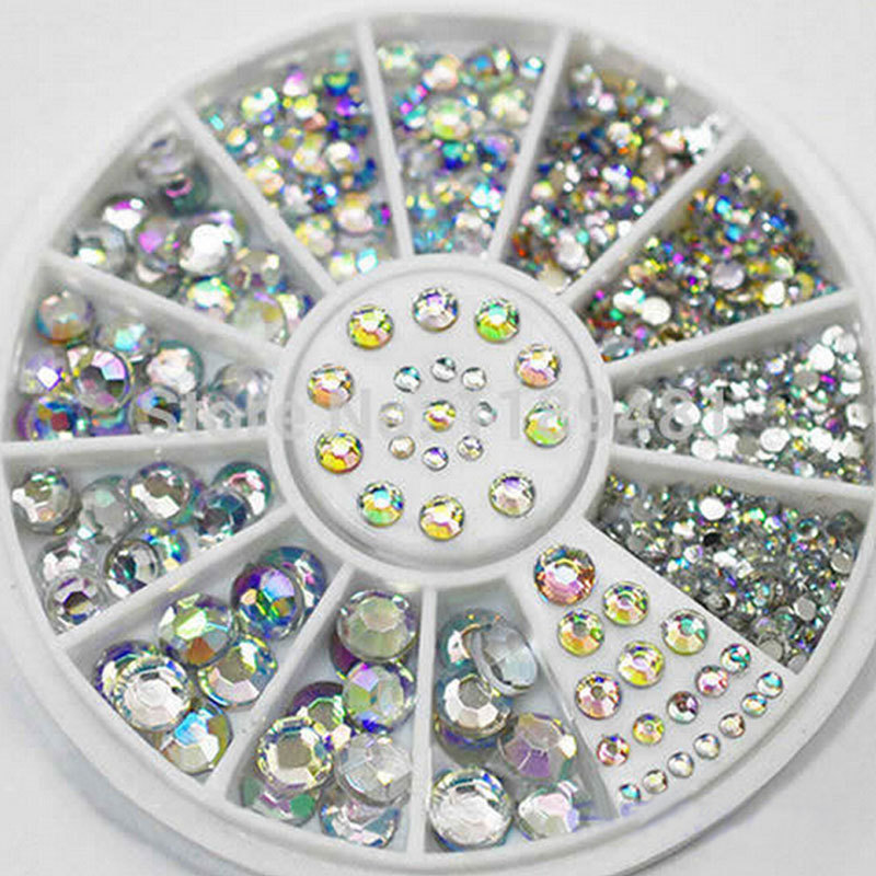 Mix Sizes Crystal AB Glitter Rhinestone 3d Acrylic Nail Art Decoration Wheel Set DIY Beauty Nail Tools