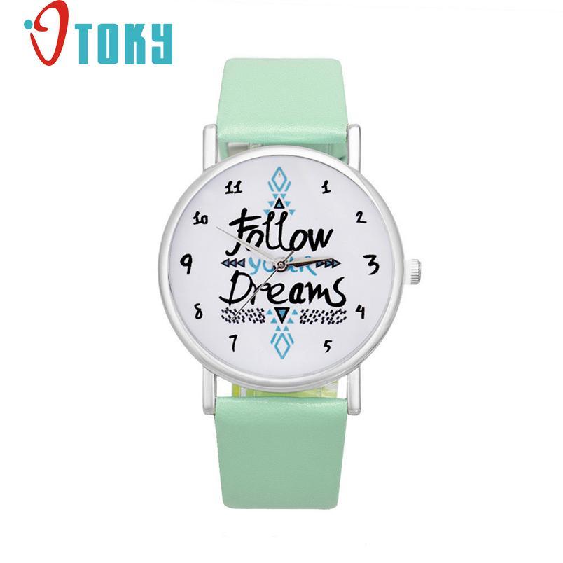 font b women b font font b watches b font Follow your Dreams Words Pattern