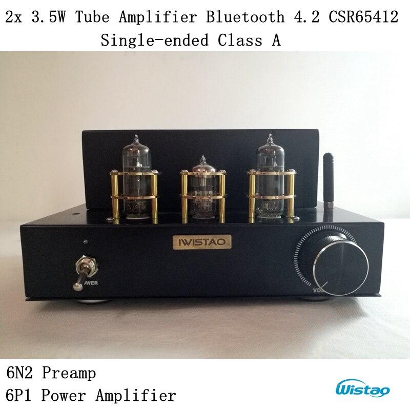 Трубки Усилители домашние Беспроводной Bluetooth 4.2 несимметричный класс Desktop 6n2 предусилителя 6p1 Мощность этап 2x3.5 Вт apt X HiFi аудио 110/220 В