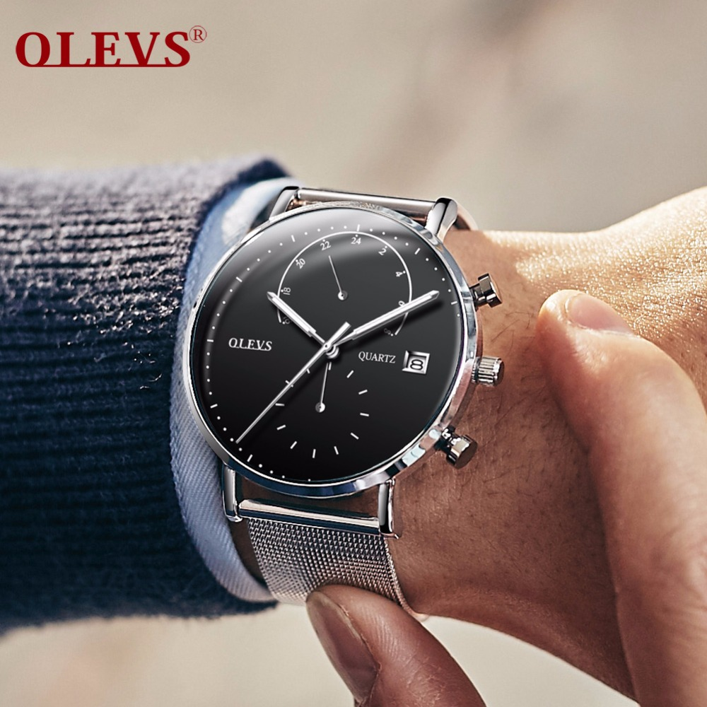 OLEVS Quartz watch men watches luxury brand relogio masculino wristwatch mens milanese stainless steel bracelet erkek kol saati
