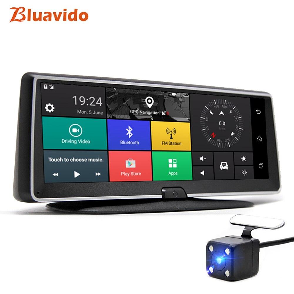 Bluavido 8 Polegada 4g android painel do carro dvr câmera de navegação gps adas 1080 p lente dupla gravador vídeo do carro visão noturna wifi