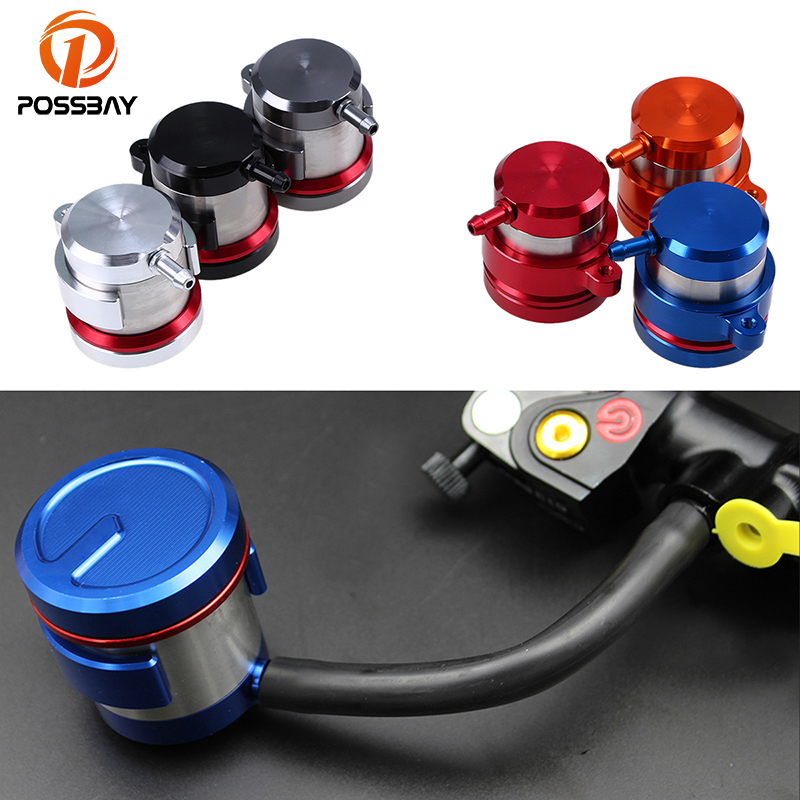 POSSBAY Universal CNC Aluminium Motorcycle Brake Fluid Reservoirs Clutch Tank Oil Cups Fluid Cup For Honda Yamaha Ducati Suzuki motorcycle brake fluid reservoir clutch tank oil fluid cup for honda yamaha kawasaki z750 z800 z1000 suzuki ducati xt660 wr250