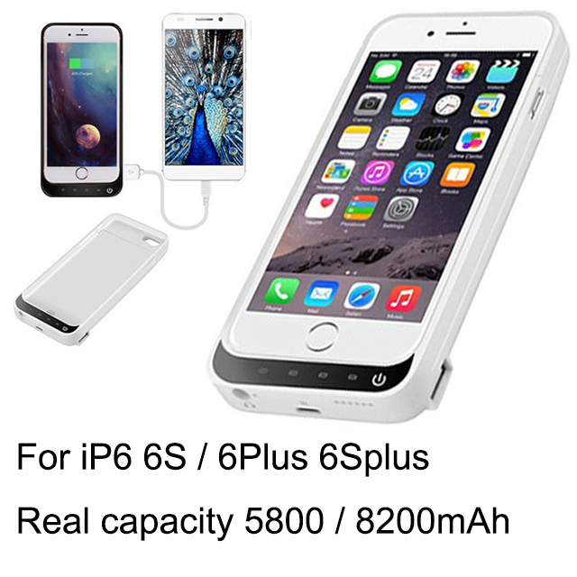 Real capacity 8200 / 5800 iP6 Plus External USB power bank Charger Backup Battery Case For Iphone 6 6s Power case