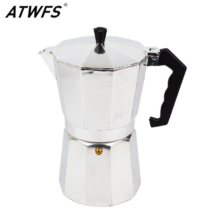 ATWFS высокомощный качественные кофейники для эспрессо 3/6/9/12 чашек, алюминиевый кофейник для Моки, кофейница, чашка для Моки эспрессо