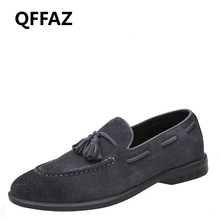 QFFAZ Fashion Style Men Shoes Soft Moccasins Men Loafers High Quality men casual natural leather Men Flats Gommino Driving Shoes