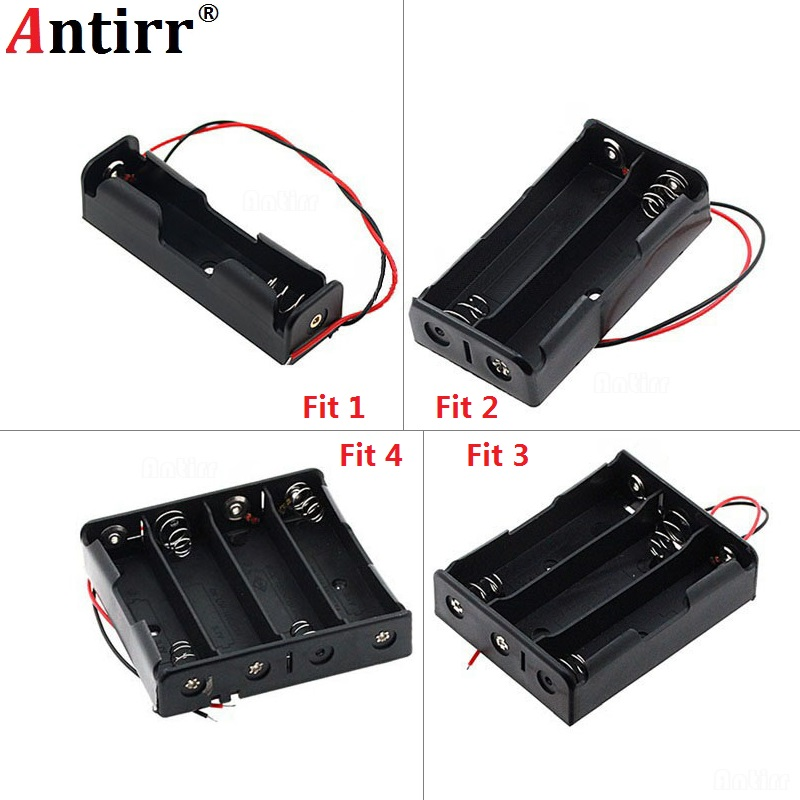 Black Plastic 1x <font><b>2x</b></font> 3x 4x <font><b>18650</b></font> <font><b>Battery</b></font> Storage Box Case 1 2 3 4 Slot Way DIY <font><b>Batteries</b></font> Clip <font><b>Holder</b></font> Container With Wire Lead Pin image