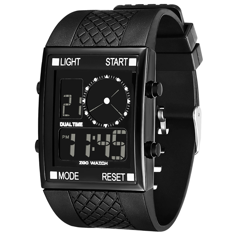ZGO Casual Sport LED Digital Display Watch Men 3Bar Waterproof Black Electronic Clock Wristwatch Gifts Relogio Masculino 756