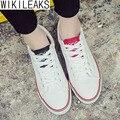 Wikileaks Горячие Продажа 2016 Новые Моды для Женщин Повседневная Прогулки Холст Обувь Женщина Шнуровке Белый Дешевые Студент Обувь Zapatos Mujer