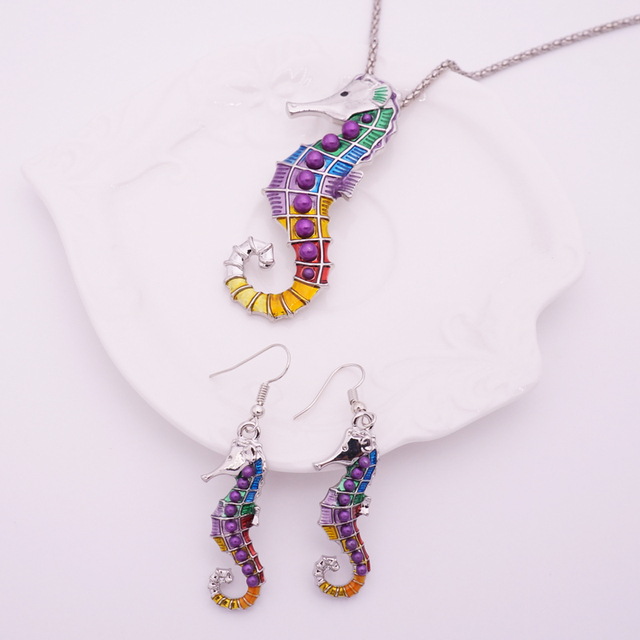 Multicolor Seahorse Style Necklace with Earrings
