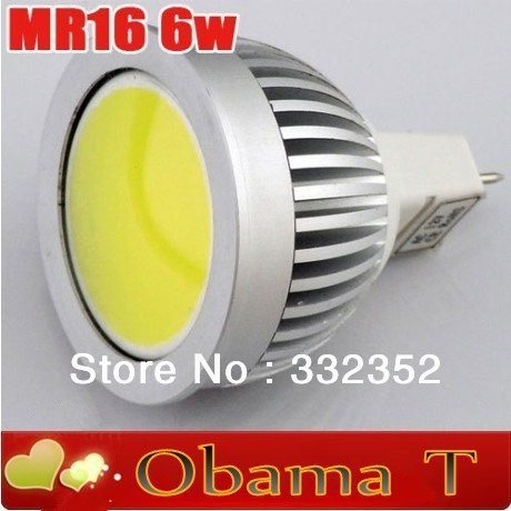 Hot! 5pcs/lot  COB MR16 6W LED Spot Light 12v input 120 degree 500lm  Free shipping