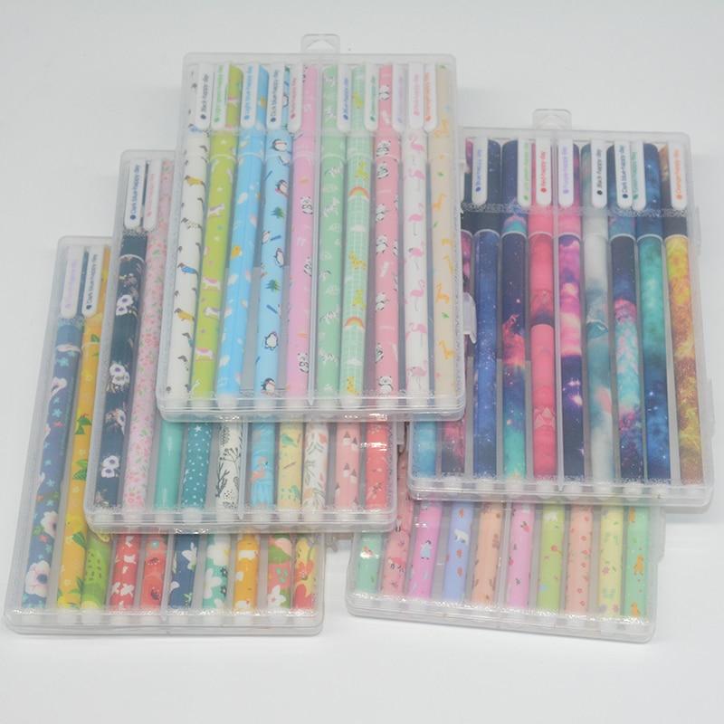 10 Pcs/Set Ballpoint Pen Starry Sky Kalem Colorful Caneta Kawai Stylo Pens Canetas Material Escolar Boligrafos Papelaria