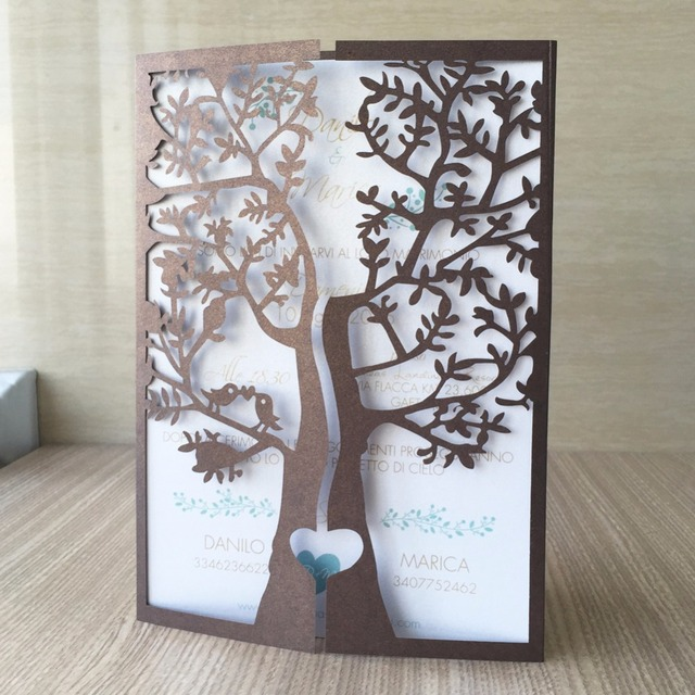 12pcslot 24 Color Invitaiton Cardslaser Cut Love Bird Tree Wedding