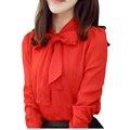 2016 Mulheres Elegantes Manga Comprida Chiffon Camisa Arco Pescoço Fino Workwear OL Blusa Top 3XL Plus Size Camisa Chiffon