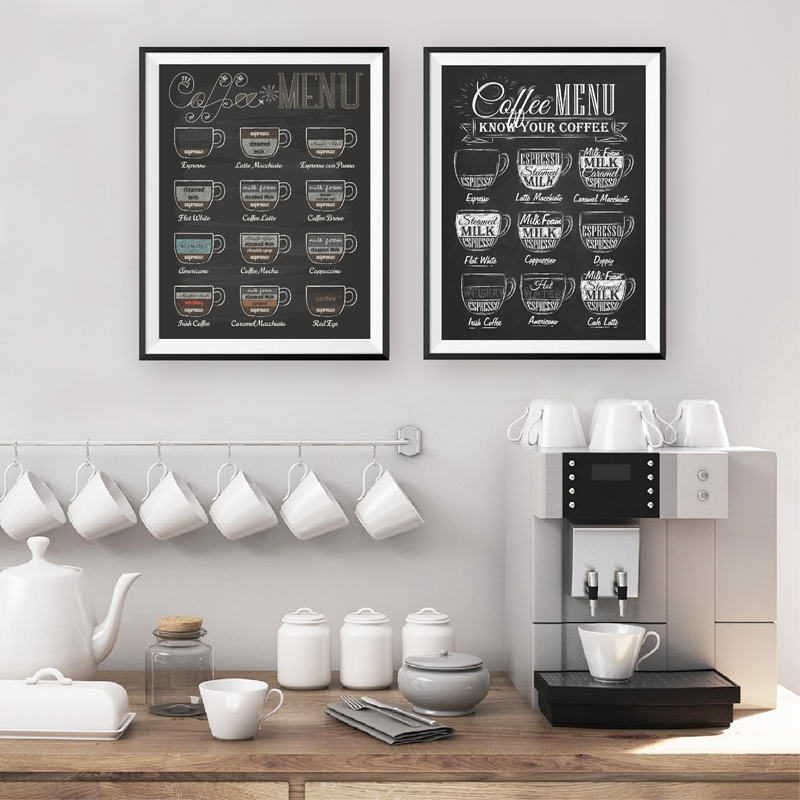 Coffee Menu Prints Vintage Style Chalkboard Poster Cafe Wall Art Decor Canvas Painting Retro Wall Picture Coffee Shop Decoration