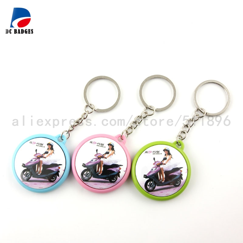 Double side 25mm 32mm 37mm colorful button keyring material 200sets mix colors