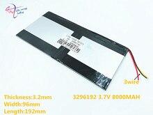 3 ligne 3.7 v 8000 mAh 3296192 pour Teclast 3G tablette PC batterie 3 fils AIR X98 P98HD P98
