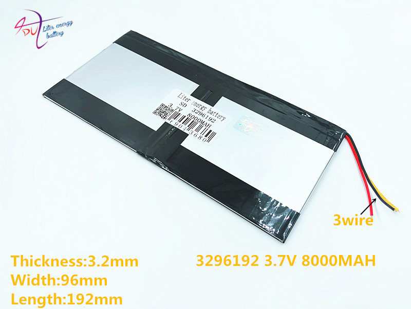 3 line <font><b>3.7v</b></font> <font><b>8000mAh</b></font> 3296192 For Teclast 3G Tablet PC Battery 3 wire AIR X98 P98HD P98 image