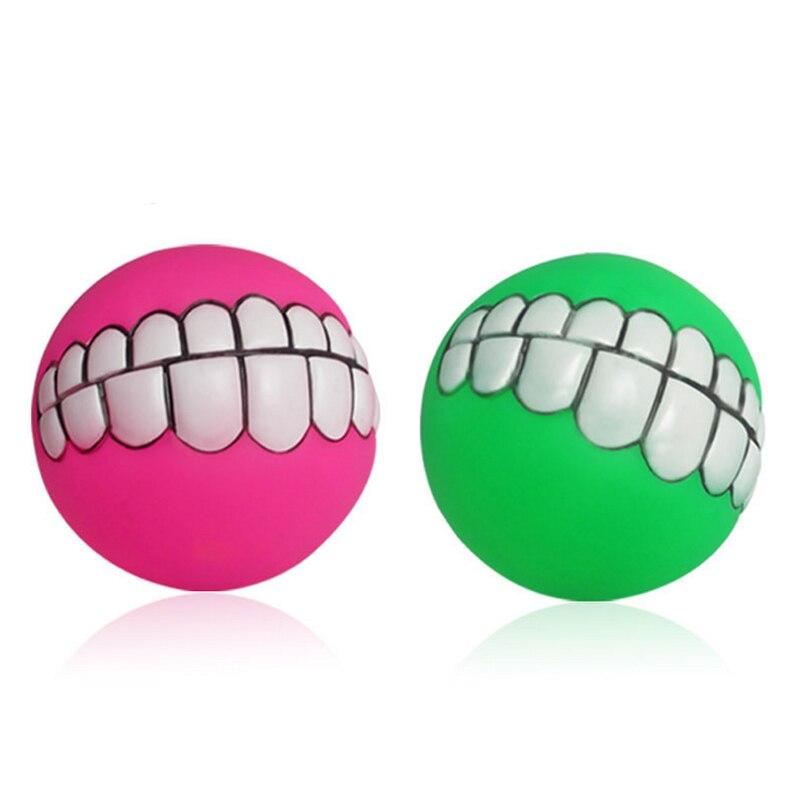 Funny font b Pets b font Dog Puppy Cat Ball Teeth Toy PVC Chew Sound Dogs