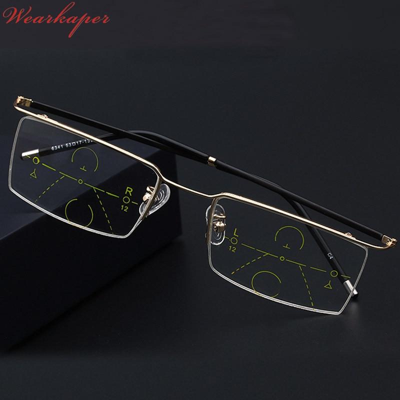 WEARKAPER Half Frame Multifocal Eyewear Progressive Reading Glasses Men Women Presbyopia Hyperopia Multifocal