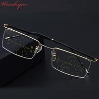 WEARKAPER Nieuwe Half Frame Eyewear Smart zoom Progressieve Multifocale Leesbril Mannen Vrouwen Presbyopie Verziendheid Multifocale