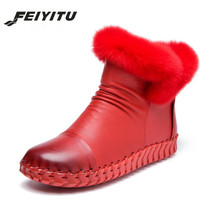 feiyitu  Shoes Women Boots Solid Handmade genuine leather Snow Round Toe Flat with Winter rabbit fur Ankle