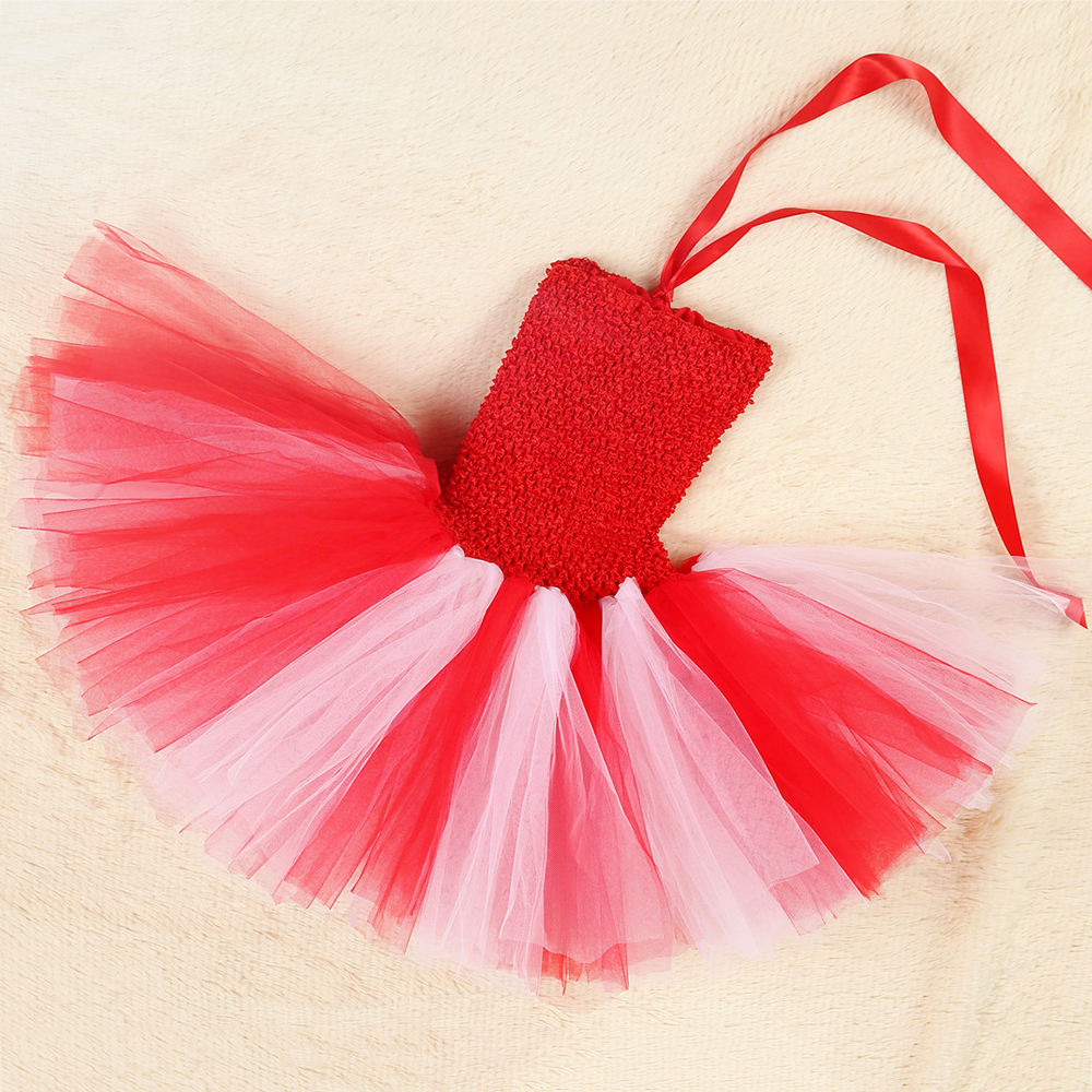 Red White Queen of Hearts Fancy Dress Costume Valentine\`s Day Knee Length Heart Pattern Tutu Dress Princess Dress for Girls 1-14 (6)