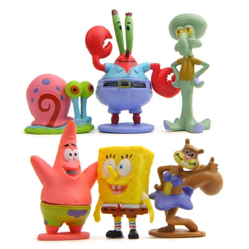 6pcs/lot SpongeBob Patrick Star Octopus Model PVC Action Figures Toys Collection Toys Children Christmas Gifts Decoration Props