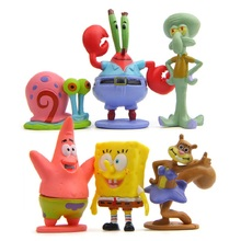 6pcs/lot SpongeBob Patrick Star Octopus Model PVC Action Figures Toys Collection Toys Children Christmas Gifts Decoration Props