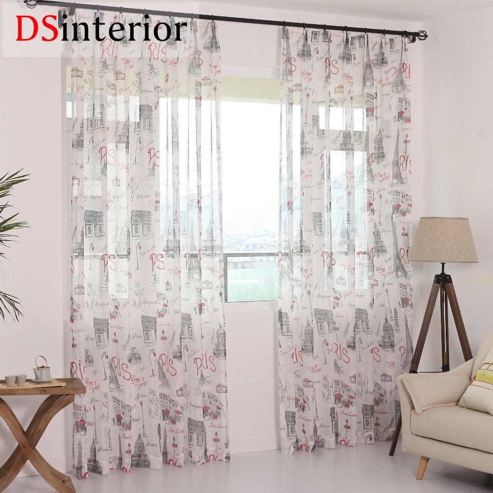 Dsinterior Modern Paris Design Tulle Sheer Curtain For Bedroom Or
