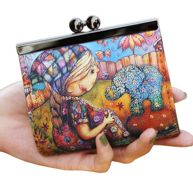Lady Coin Purse Short Women Wallets Soft PU Leather Girls Doll Catroon Wallet Cards Money Bag Woman Clutch Coin Purses Burse Bag