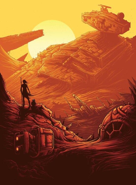 5x7ft Star Wars Force Wekt Rey Oranje Zonsondergang Sky Schepen Custom Fotografie Studio Achtergrond Vinyl 150 Cm X 220 Cm