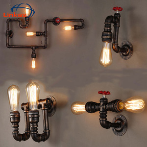Vintage Retro Water Pipe Loft Wrought Iron Industrial Wall Lamp Sconce Pulley Lamps E27 Edison Pendant Lamp Home Light Fixtures(China)