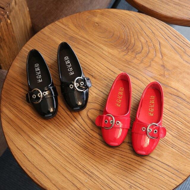 Девушки Кожа Shoes Мягкой Платье Весна Осень Дети Мода Shoes Черный/Розовый Школы Designer Shoes for Kids