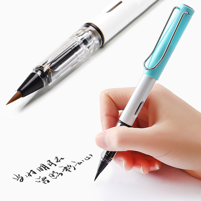 NEW plastic Transparent color fountain style Weasel Hair Calligraphy small regular script Brush Pen