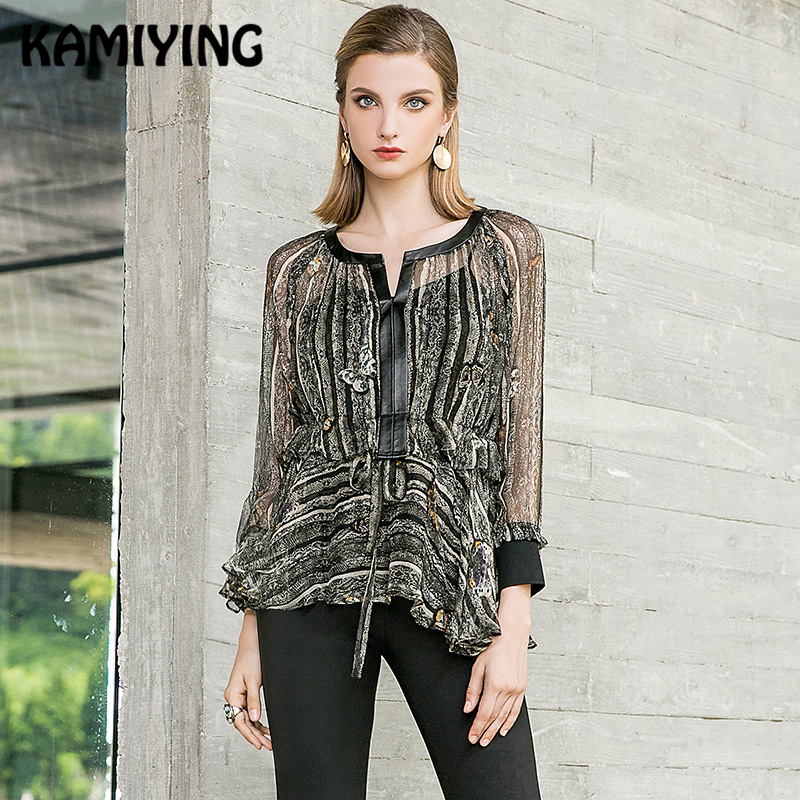 KAMIYING Original Design Female Silk Shirt New Floral Printing Two Piece Suit Sling Blouse Woman Blusas Mujer De Moda PKHC667 in Blouses amp Shirts from Women 39 s Clothing
