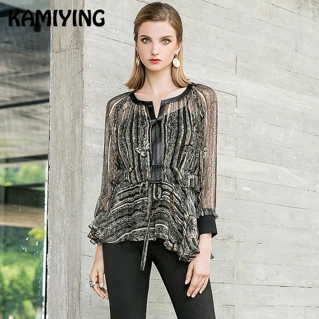 KAMIYING Original Design Female Silk Shirt New Floral Printing Two-Piece Suit Sling Blouse Woman Blusas Mujer De Moda PKHC667