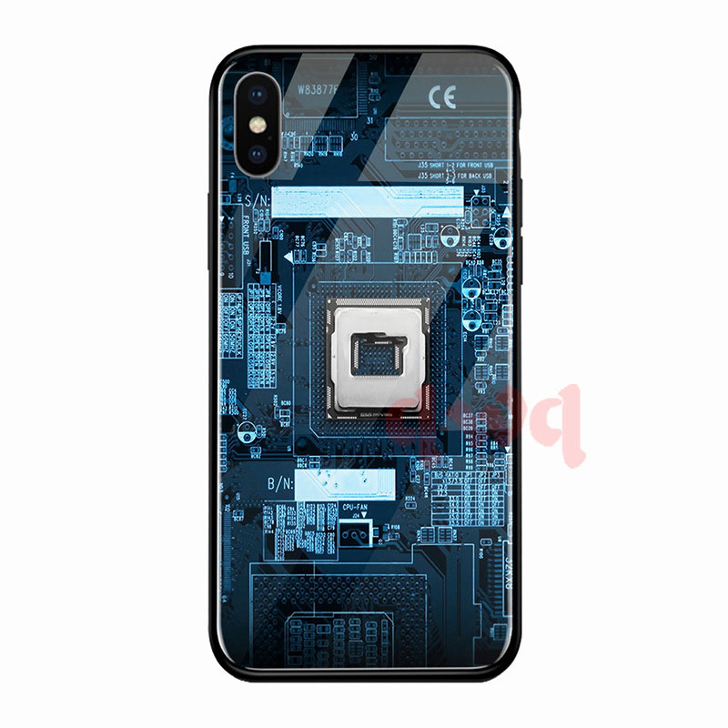 Circuit Board Tempered Glass Hard Back Phone Cases For Iphone 6 6S 7 8 Plus Full Cover For iphone X XR Xs Max TPU Soft Edge Case-I