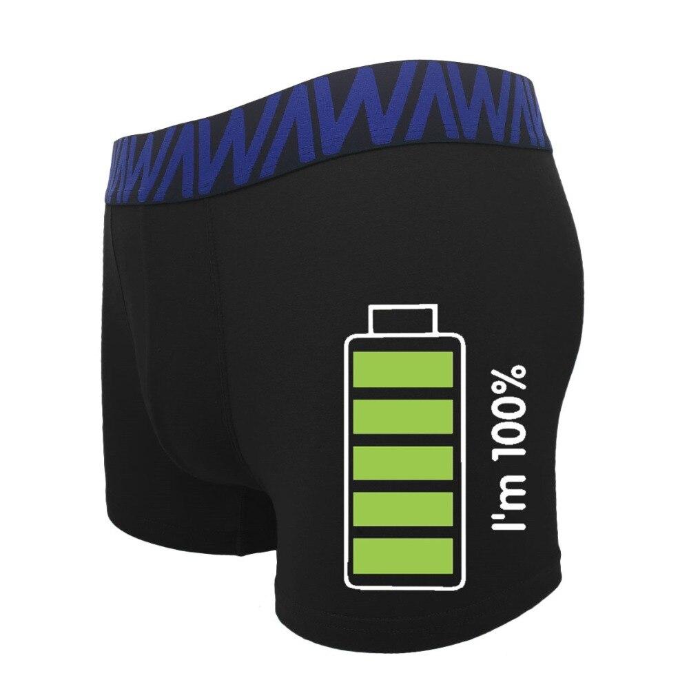 Unique Funny Cartoon Battery Print Cotton Boxer Underwear Men Breathable Male Modis Underpants Bielizna Calzoncillo Hombre Boxer