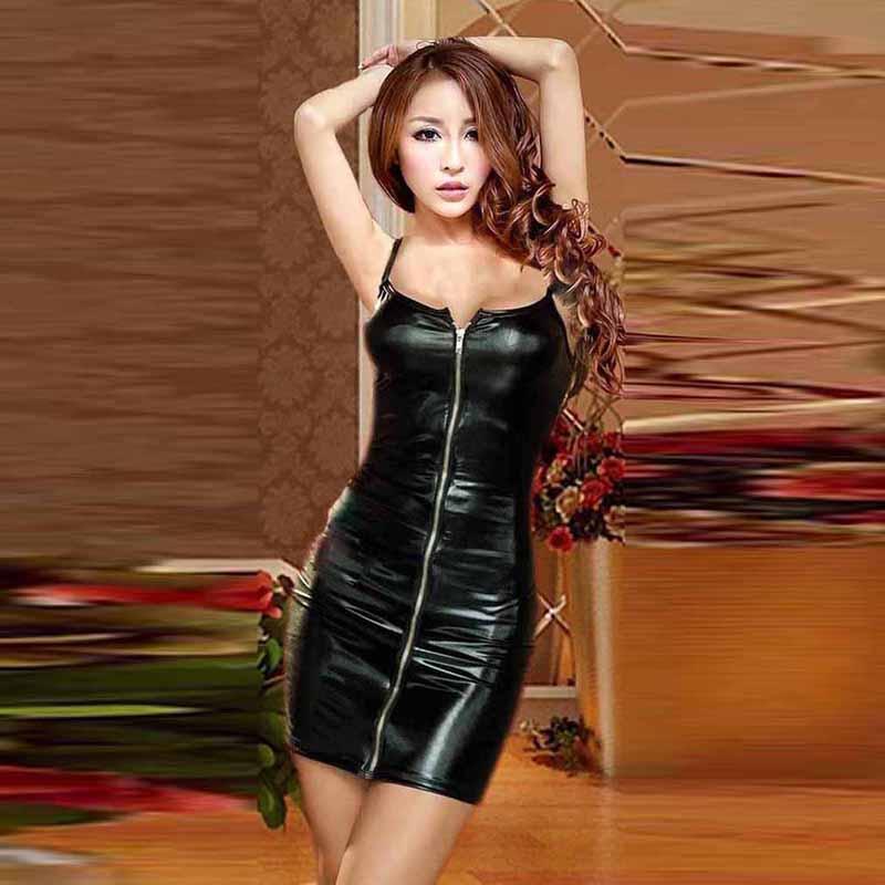 4XL Ladies Sexy Club Party Sheath Dress Sleeveless Spaghetti Strap Low-cut Dress Women's Clothing Front Zipper Mini Vestidos