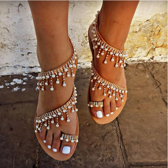 Woman Sandals Women Shoes Rhinestones Chains Thong Gladiator Flat Sandals Crystal Chaussure Plus Size 46 tenis feminino ghn7