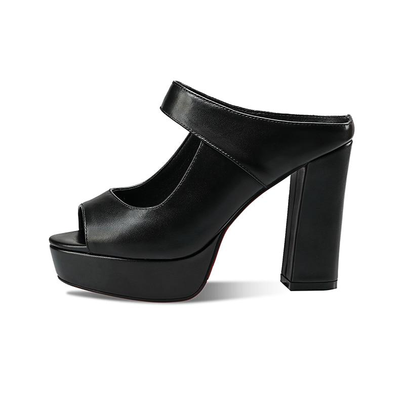BONJOMARISA 2018 Dedo Abierto de Cuero Genuino de Las Mujeres Tacones - Zapatos de mujer - foto 2