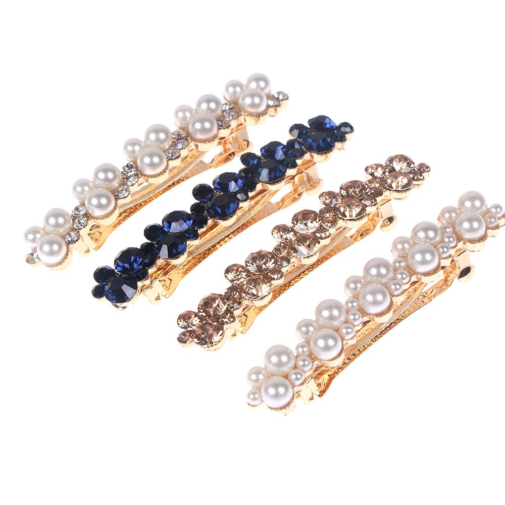 Fashion Crystal Rhinestone Pearl Hairpins Girls Barrettes Hair Clip Clamp Jewelry Styling Tools Women Hair Accessories